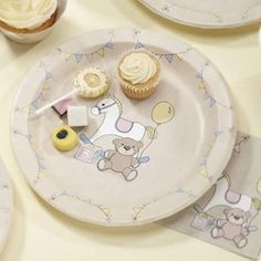 Rock A Bye Baby Party Paper Plates by Ginger Ray, the perfect gift for Explore more unique gifts in our curated marketplace. Tea Party Decorations, Decoration Table, Christening Decorations, Baby Shower Party Supplies, Baby Shower Parties, Style Baby, Teddy Bear Party, Teddy Bears, Baby Plates