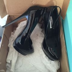 Shiny Black Steve Madden Heels Straps can be removed. Original box included. Worn once 6 1/2M width. Final price. Steve Madden Shoes Heels