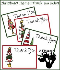 Free Christmas Thank You Notes (and lots of other free Christmas printables) from 3 Dinosaurs Preschool Christmas, Christmas Activities, Christmas Themes, Winter Activities, Holiday Ideas, Printable Thank You Notes, Free Thank You Cards, Teacher Cards, Teacher Thank You