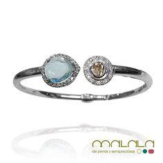 #pulsera de #topacio azul #citrino y #brillantes realizada a partir de dos anillos que nos trajo una clienta. Recuerda que Malala es experta en crear tu diseño o rediseñar una pieza. Pura artesanía!  #bracelet #diamonds #topaz #citrine #accesories #diseñoExclusivo #elegancia #fashion #femenino #fino #gift #guapa #handmade #hautecouturejewelry #instafashion #jewel #joya #joyeria #joyeriadediseño #ladies #MadeinSpain #madrid #magia #MalalaDePerlas