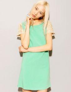 Mint gold lace sleeve dress