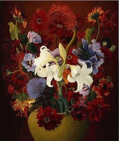 The purpose of art is washing the dust of daily life off our souls. Lily Painting, Painting & Drawing, Container Flowers, 2d Art, Flower Art, Art Gallery, Drawings, Illustration, Prints
