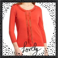 SALEStunning red beaded cardigan Carmen Marc Valvo design, gorgeous soft red cardigans with beaded stone front...White skinny jeans also available at $45 pair.. Carmen Marc Valvo Jackets & Coats