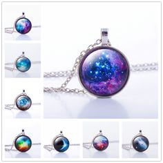 Nebula Space Pendant Necklace Glass Cabochon Sliver Chain Vintage Choker Statement Necklaces Fashion Women Jewelry Gift ** You can find more details by visiting the image link.