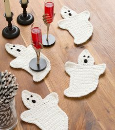 Crochet Ghost Coasters