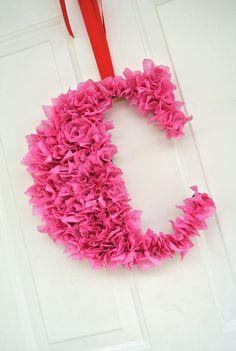 Tissue Paper Letter Monogram Valentine Wreath