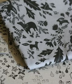 Forest Story - Damask Fabric - Small Piece- Black on Grey