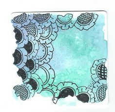 Melinda Barlow CZT and Zentangle Meets Typography- on the site she says this color background is water color sprinkled w salt, let dry then brush off the salt