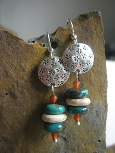 Gemstone Earrings Turquoise Carnelian and Silver by esdesigns65