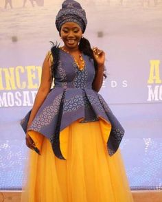 35 Traditional Shweshwe Dresses 2020 That Are Perfect African Print Wedding Dress, African Print Dress Designs, African Wedding Attire, African Attire, Setswana Traditional Dresses, South African Traditional Dresses, Traditional Wedding Attire, African Wear Dresses, Latest African Fashion Dresses