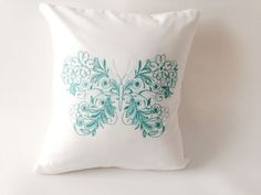 Butterfly Pillow Embroidered Pillow Butterfly Accent Green
