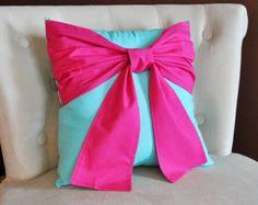 Grijze Bow kussen decoratieve gooien Bow 14 x 14 door bedbuggs