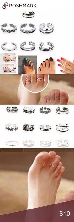 7 Piece Set of Silver Toe Rings - Variety 7PCs/set Celebrity Women Fashion Simple Toe Ring Adjustable Foot Beach Jewelry.  Every toe ring has a different design. Perfect set of toe rings with great variety and vibe of the set. Perfect for the beach! Or everyday! Something about a toe ring makes me feel like a Boss B**** LOL Jewelry Rings