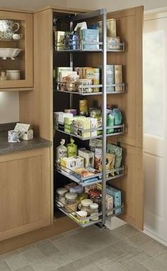 Kitchens - Standard Full-Height Pull-Out Larder Unit - Kitchens - Standard Full-Height Pull-Out Larder Unit - Kitchen Pantry Design, Diy Kitchen Storage, Kitchen Units, Kitchen Cupboards, Modern Kitchen Design, Home Decor Kitchen, Interior Design Kitchen, Kitchen Furniture, Home Kitchens