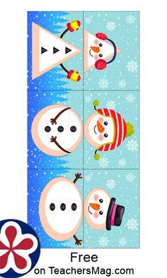 Snowman Shape Matching. TeachersMag.com Winter Activities For Kids, Kids Learning Activities, Christmas Activities, Christmas Themes, Shape Matching, Matching Games, January Crafts, English Activities, Classroom Themes