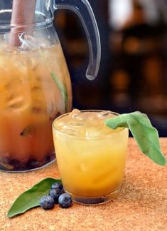 Panamanian Soother (rum cocktail) - Rum, OJ, agave nectar, blueberries, sage leaves, ginger beer)