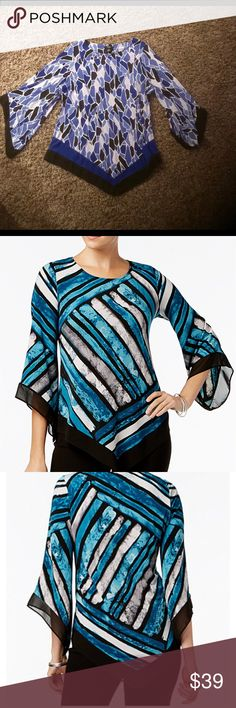 💞Alfani Woman Angel-sleeved Top- NWOT Gorgeous angel-sleeve top with V hem. Flattering and stylish!!! Great buy!!! 🛍🛍🛍 Alfani Tops
