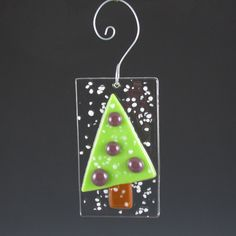 Ornament Fused Glass Christmas Tree  purple by AngelasGlassStudio, $6.00