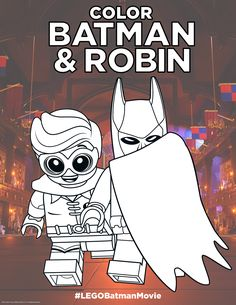 Who is that super awesome dad and his super...um...kid? Sigh. Really wish he had chosen a better superhero outfit. Click here to print! http://pdl.warnerbros.com/wbol/ww/movies/legobatman/pinterest/LEGB_ColoringBoard_BatmanRobin_v1.pdf | The LEGO® Batman Movie | In theaters now
