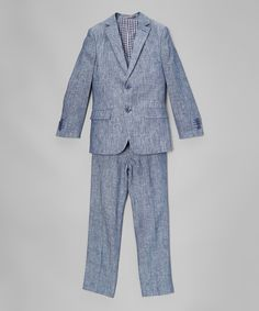 Look at this Isaac Mizrahi Navy Linen Three-Piece Suit - Toddler & Boys on #zulily today!
