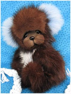 Dewdrop By Blue Valley Bears, a recycled vintage mink fur teddy bear.