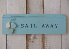 nautical sign , rustic recycled decor , sea pottery sailing boat , shabby chic beach cottage