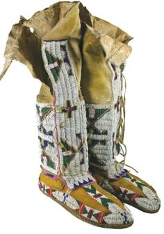 tall Sioux beaded moccasins