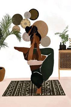 Black Love Art, Black Girl Art, Art Girl, Black Art Painting, Black Artwork, African American Art, African Art, Photographie Art Corps, Yoga Illustration
