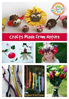 These crafts made from nature will add new meaning to your child's exploration of the outdoors. This round-up focuses on nature crafts. Preschool Art, Kindergarten Activities, Nature Activities, Activities For Kids, Outdoor Activities, Crafts For Kids To Make, Art For Kids, Arts And Crafts, Diy Crafts