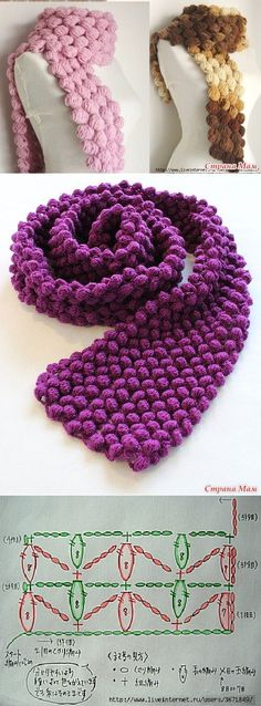 Crochet scarf ❥Teresa Restegui http://www.pinterest.com/teretegui/❥                                                                                                                                                                                 Más