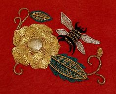 Rose & Bee Gold work Embroidery