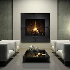 The fireplace is used to create a relaxed atmosphere while warming the room. Modern fireplaces have varying heat efficiency, depending on design sophistication. Fireplaces may have foundations, sto… Contemporary Gas Fireplace, Freestanding Fireplace, Home Fireplace, Fireplace Design, Granite Fireplace, Fireplace Brick, Fireplace Screens, Beautiful Interior Design, Office Interior Design