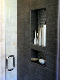 Built in shower shelf  tile shower                                                                                                                                                                                 More