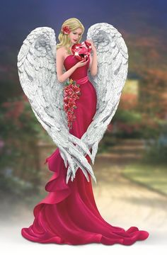 Kinkade Heart of Love Angel Figurine by The Bradford Exchange Thomas Kinkade Bradford Exchange Heart of Love FigurineThomas Kinkade Bradford Exchange Heart of Love Figurine Thomas Kinkade Art, Thomas Kincaid, Art Thomas, Archangel Gabriel, I Believe In Angels, Ange Demon, Modelos Fashion, Bradford Exchange, Angel Pictures