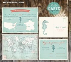 Aqua turquoise blue and corral Bilingual Invitation and RSVP card - World map wedding - International wedding. $40.00, via Etsy.