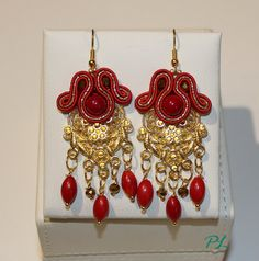 Earrings reds and gold by PaolaLongocreazioni on Etsy