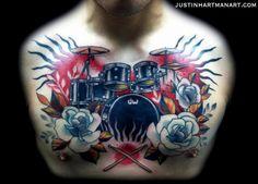 Chest Drum Tattoo by Justin Hartman