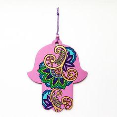 Hamsa Wall Art Mehndi Inspired Design Flower by LeaJoelleHandmade