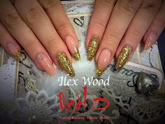 Acrylic Nails using ProHesion. Gold Nails.