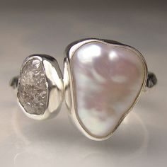 Baroque Pearl and Rough Diamond Ring - Recycled Palladium Sterling Engagement Ring - Made to Order Uncut Diamond Ring, Raw Diamond Engagement Rings, Rough Diamond, Diamond Jewelry, Diamond Stud, Pearl Jewelry, Diamond Pendant, Diamond Rings, Silver Jewelry
