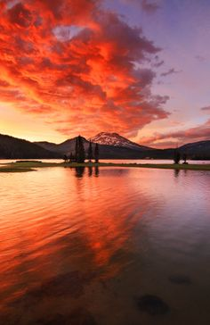 South Sister Under Fire (Sparks Lake) by Skyler Hughes on 500px  #Oregon #Pacific northwest