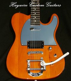 http://www.haywirecustomguitars.com                                              The Haywire Tremolo Tele is one tricked out Tele®. The most prominent feature is a  tremolo. We couple this with a Tune-o-matic bridge for tuning stability.  The body has a Strat®-style tummy cut for extra comfort.  The Double Hotrail configuration sounds great.