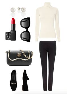 ankle pants + turtleneck + flats + pearl earrings
