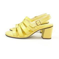 Vintage 60s Strappy Sandals Block Heels Pumps Mod Yellow Shoes 1960s... ($42) ❤ liked on Polyvore featuring shoes, sandals, high heel shoes, ankle wrap sandals, yellow shoes, high heel sandals and vintage sandals