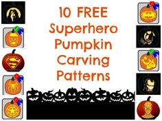 10 Free Superhero Pumpkin Carving Patterns