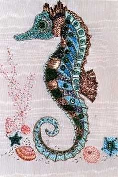 Seahorse embroidery seahorses embroidery and beads seahorse embroidery solutioingenieria Image collections