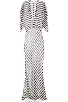 Norma Kamali Obie Striped Silk-Chiffon Maxi Dress. Long, sheer, and striped...where is summer?