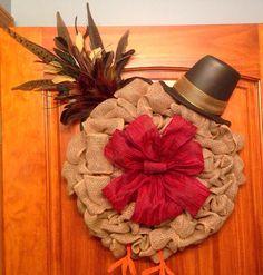 Burlap turkey wreath for Thanksgiving.