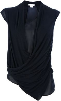 Alexander Wang draped top has a side cowl. The cowl seems to drape from the shoulder but actually it drapes down from the wearer's left waist then is tacked down at the right hem. 90s Fashion, Womens Fashion, Fashion Tips, Fashion Trends, Beautiful Outfits, Black Tops, Style Me, Couture, Alexander Wang