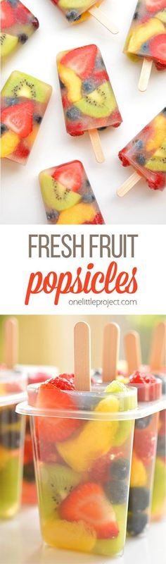 These fresh fruit popsicles are SO PRETTY! What a delicious and refreshing treat.,Healthy, Many of these healthy H E A L T H Y . These fresh fruit popsicles are SO PRETTY! What a delicious and refreshing treat idea for summer! Frozen Desserts, Frozen Treats, Healthy Fruit Desserts, Paleo Dessert, Fruit Recipes, Turkey Recipes, Bread Recipes, Crockpot Recipes, Chicken Recipes